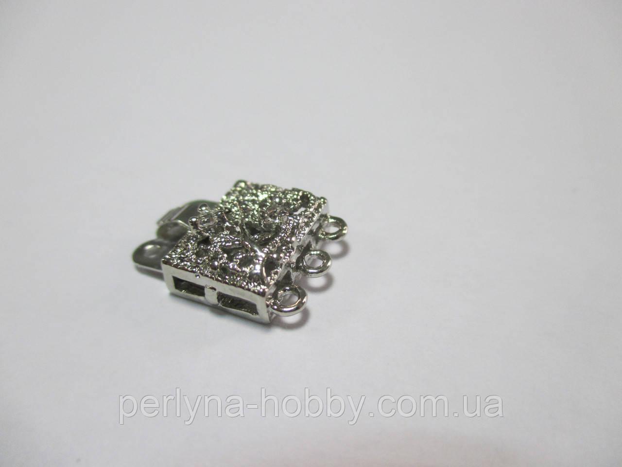 Застібка для біжутерії зі стразами 16 мм. на 3 нитки, нікель