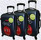 Комплект пластиковых чемоданов 3-ка.на четырёх колёсах фирмы GRAVITT, фото 2