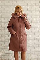 Зимнее женское плащевое пальто, фото 1