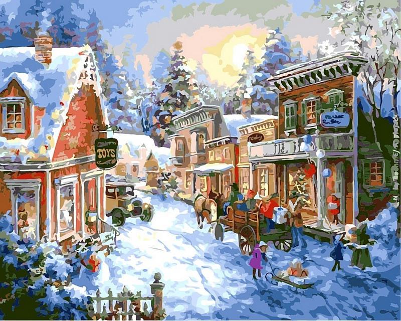 Картины по номерам 40×50 см. В преддверии Рождества худ. Ники Боэм (VP-305)