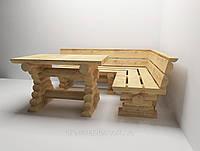 Комплект угловой стол с лавочками со сруба, фото 1