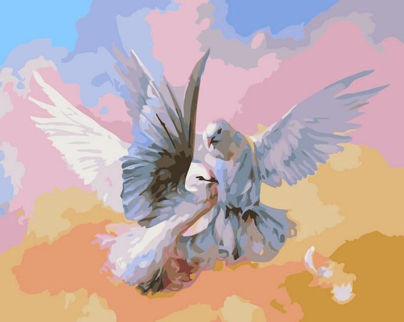 Картины по номерам 40×50 см. Влюбленные голубки