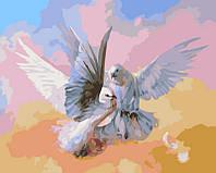 Картины по номерам 40×50 см. Влюбленные голубки, фото 1