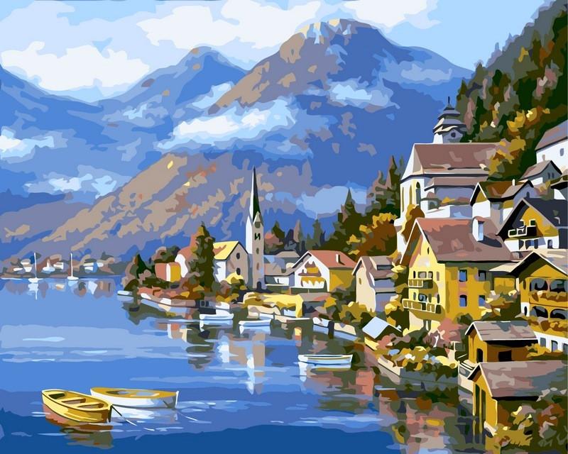Картины по номерам 40×50 см. Альпийская деревня Художник Сунг Ким