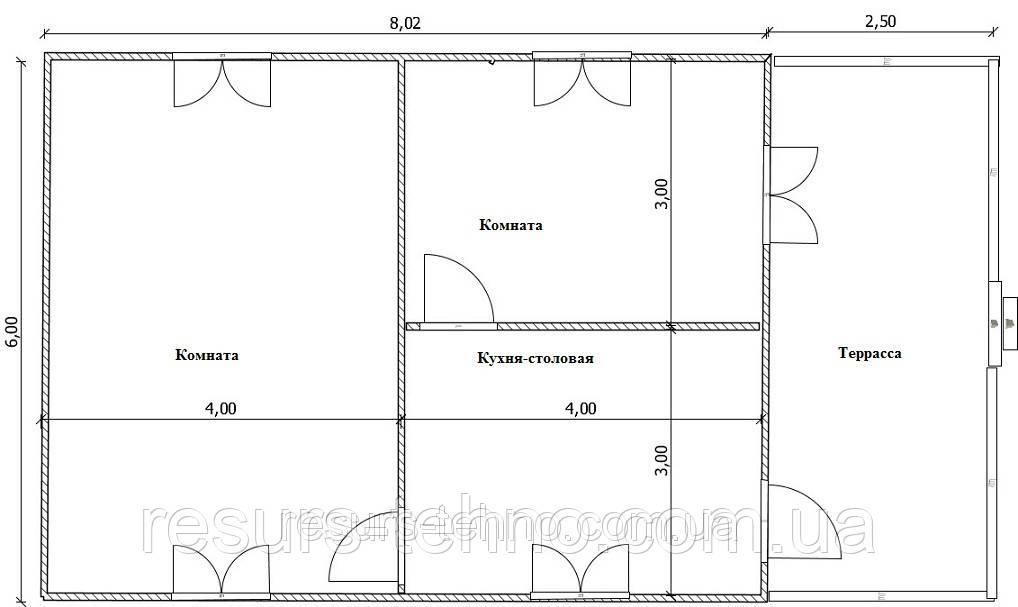 Дом 6м х 8м с терассой