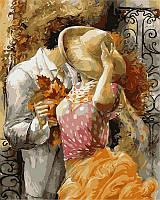 Картины раскраски по номерам 40 × 50 см. Поцелуй на крыльце худ Лена Сотскова