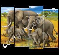 """Модульная картина """"Слоны"""""""