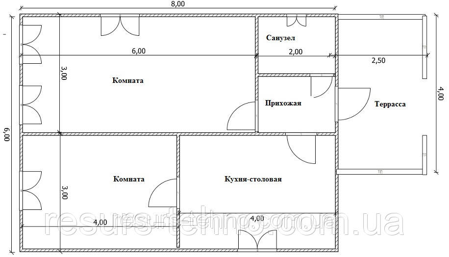 Дом 6м х 8м с терассой 4м х 2,5м