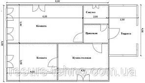Будинок 6м х 8м з терасою 4м х 2,5 м