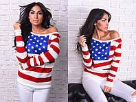 Вязанный женский свитер в крупную полоску со звёздами