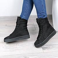 Ботинки женские RIhanna МЕХ черные РАЗМЕР 40, Зимняя обувь