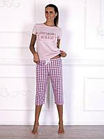 Пижама женская с бриджами в  клетку