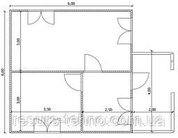 Будинок 6м х 6м з прибудованою терасою 4м х 2м