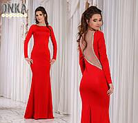 Шикарное красное платье в пол, спина открытая, отделка камни. Арт-9143/13