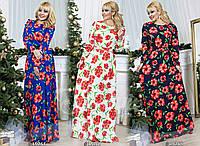 Платье цветы в пол, размер 50-52;52-54 код 450Р