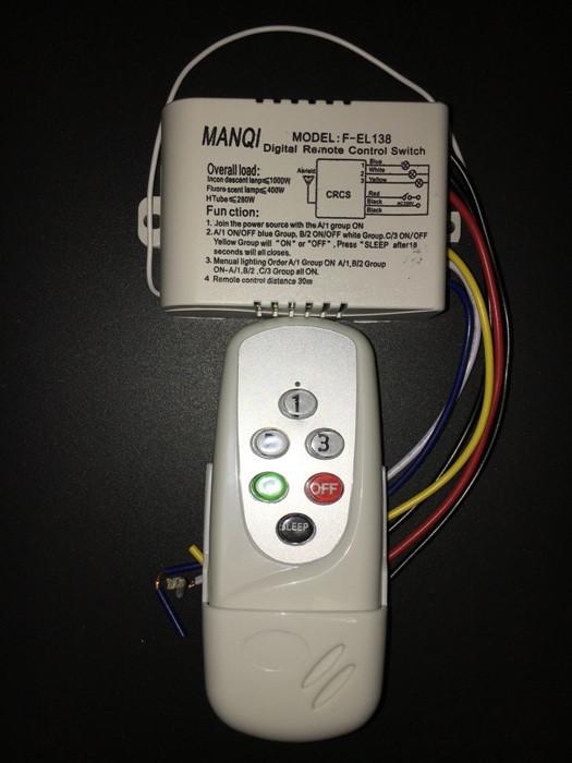 Пульт дистанционного управления MANQI F-EL138 3 цепи нагрузки по 1000 Вт Код.58791