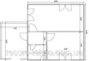 Будинок 6м х 6м з терасою 3м х 4м