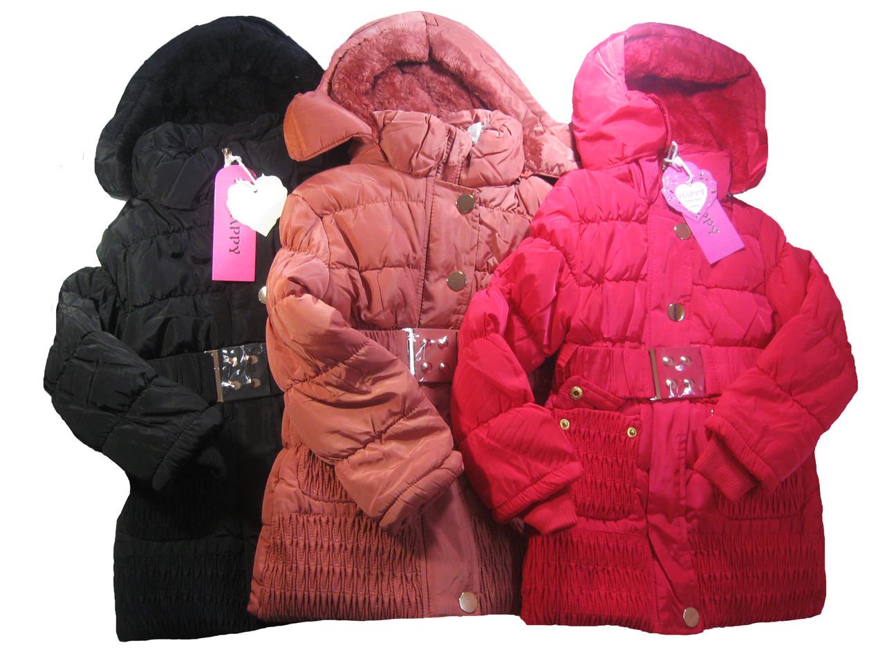 Куртка-пальто  для девочек на меховой подкладке, Happy, размеры 4,4,6,6,12 лет, арт. P-11