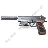 Пистолет на пульках, с лазером и глушителем, 27.5 см, в коробке (ОПТОМ) M828F