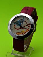 """Женские наручные часы на красном кожаном ремешке """"Полет мотылька"""""""