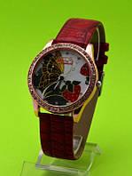 """Женские наручные часы на красном кожаном ремешке """"Клубничная бабочка"""""""