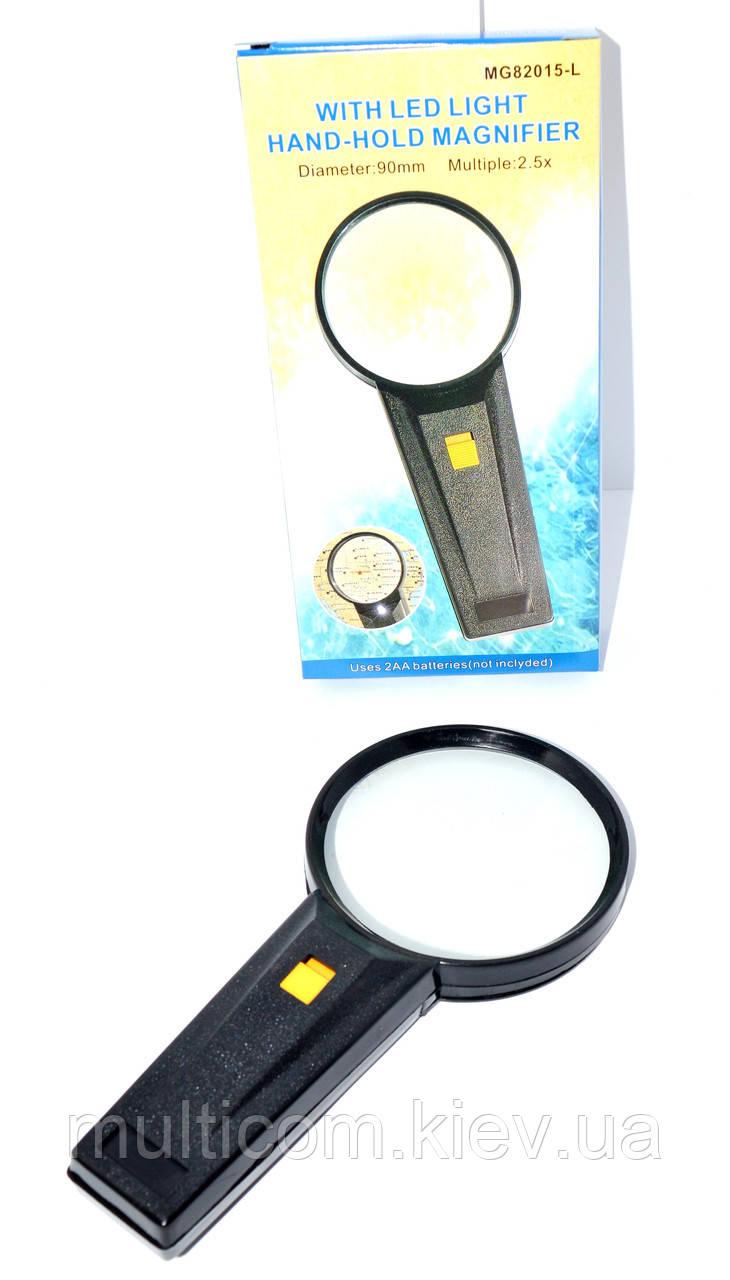 14-0304. Лупа ручная MG82015 круглая с подсветкой, 2,5Х, диам-90мм