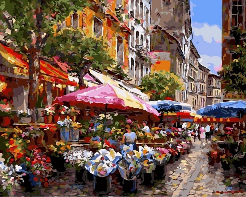 Картины по номерам 40×50 см. Цветочный базар Художник Sung Sam Park, фото 1