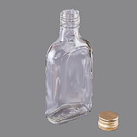 Бутылка стеклянная 0,2 литра водочная фляга, фото 1