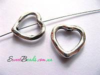Подвеска-бусина сердце 14*14мм, серебро