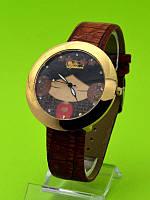 """Женские наручные часы на коричневом кожаном ремешке """"Графика в коричневых оттенках"""""""