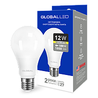 LED лампа GLOBAL A60 12W 3000K (мягкий свет) 220V E27 AL (1-GBL-165)