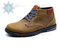 Зимние ботинки Levi's мужские, оливковые, натуральная кожа,р. 40