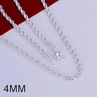 Цепочка 4 мм спираль покрытие 925 серебро разные размеры
