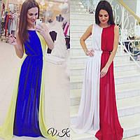 Женское двухцветное платье в пол без рукавов