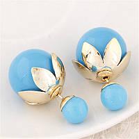 Серьги диор голубые с золотистым декором