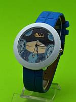 """Женские наручные часы на синем кожаном ремешке """"Голубой мираж"""""""