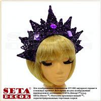 Корона Царица на обруче фиолетовая с вензелями новогодняя