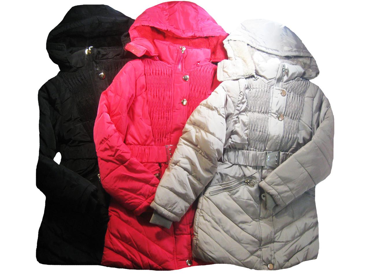 Куртка-пальто для девочек на меховой подкладке, Happy, размеры 8-16 лет, арт. P-17