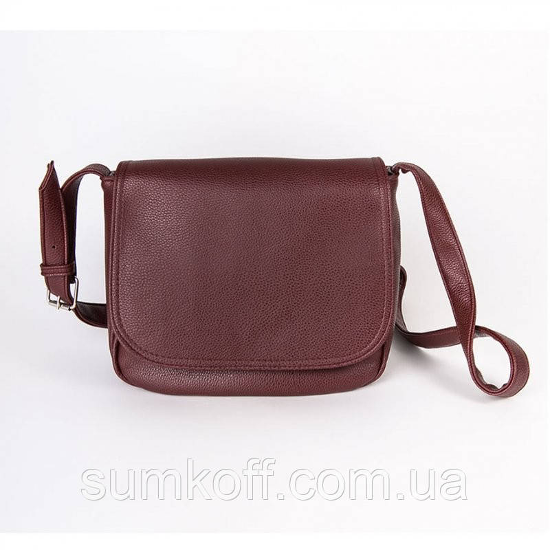 8a68eb288045 Бордовая сумка через плечо М52-38 женская среднего размера вместительная  легкая популярная, фото 1