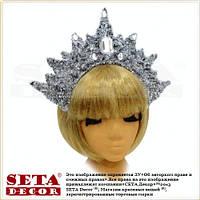 Корона Снежная королева серебристая новогодняя на обруче