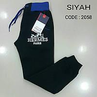 Штаны спортивные тёплые для мальчиков черные Юниоры размеры: 170, 176