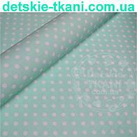 """Ткань """"Super agat"""" с горошком 6 мм на мятном фоне (№479с)."""