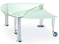 Журнальный столик Halmar Tess со стеклянной столешницей необычной формы