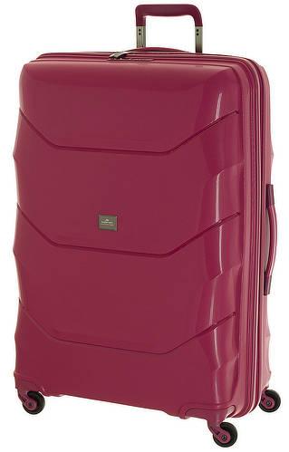 Пластиковый 4-х колесный дорожный чемодан-гигант March Vienna 113л. малиновый 0031/02