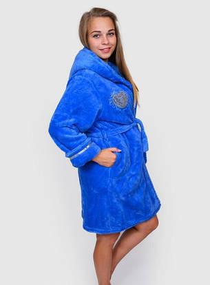 Махровый халат женский синего цвета, фото 2