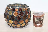 Набор подсвечник и свеча Village Candle Кофе