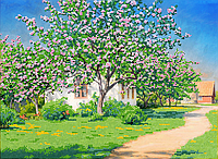 Схема для вышивки бисером POINT ART Яблони в цвету, размер 41х30 см