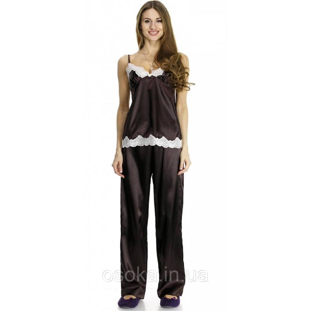Шовкова піжама Serenade 443 з брюками Шоколадний-екрю
