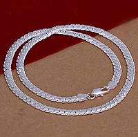 Цепочка 5 мм насечка покрытие 925 серебро проба