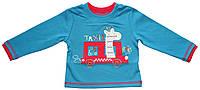 Кофта хлопковая для мальчика, синяя с яркой нашивкой - жираф, рост 74 см, Бемби